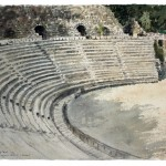 "Amphitheatre at Beit She'an, watercolour on paper: 15"" x 22"""