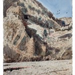 "Caves of Qumran, watercolour on paper: 15"" x 22"""