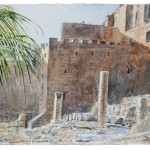 "SOLD: City of David, Archeological Gardens, watercolour on paper: 15"" x 22"""