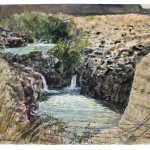 "SOLD: Falls on the Jordan River, watercolour on paper: 15"" x 22"""