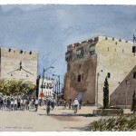 "Jaffa Gate for Vehicles, watercolour on paper: 15"" x 22"""