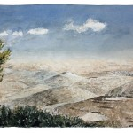 "Judean Desert from Mount Scopus Campus, watercolour on paper: 15"" x 22"""