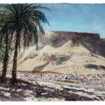 "SOLD,  Masada with Palms, watercolour on paper: 15"" x 22"""