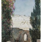 "Mount Olives from Jerusalem, watercolour on paper: 15"" x 22"""