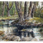 "River at Kibbutz Dafna, watercolour on paper: 15"" x 22"""