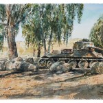 "Tank Memorial at Metulla, watercolour on paper: 15"" x 22"""
